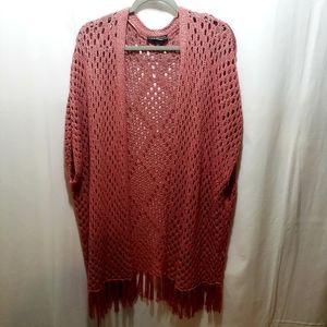 Lane Bryant Boho Fringe Crocheted Vest - 26/28